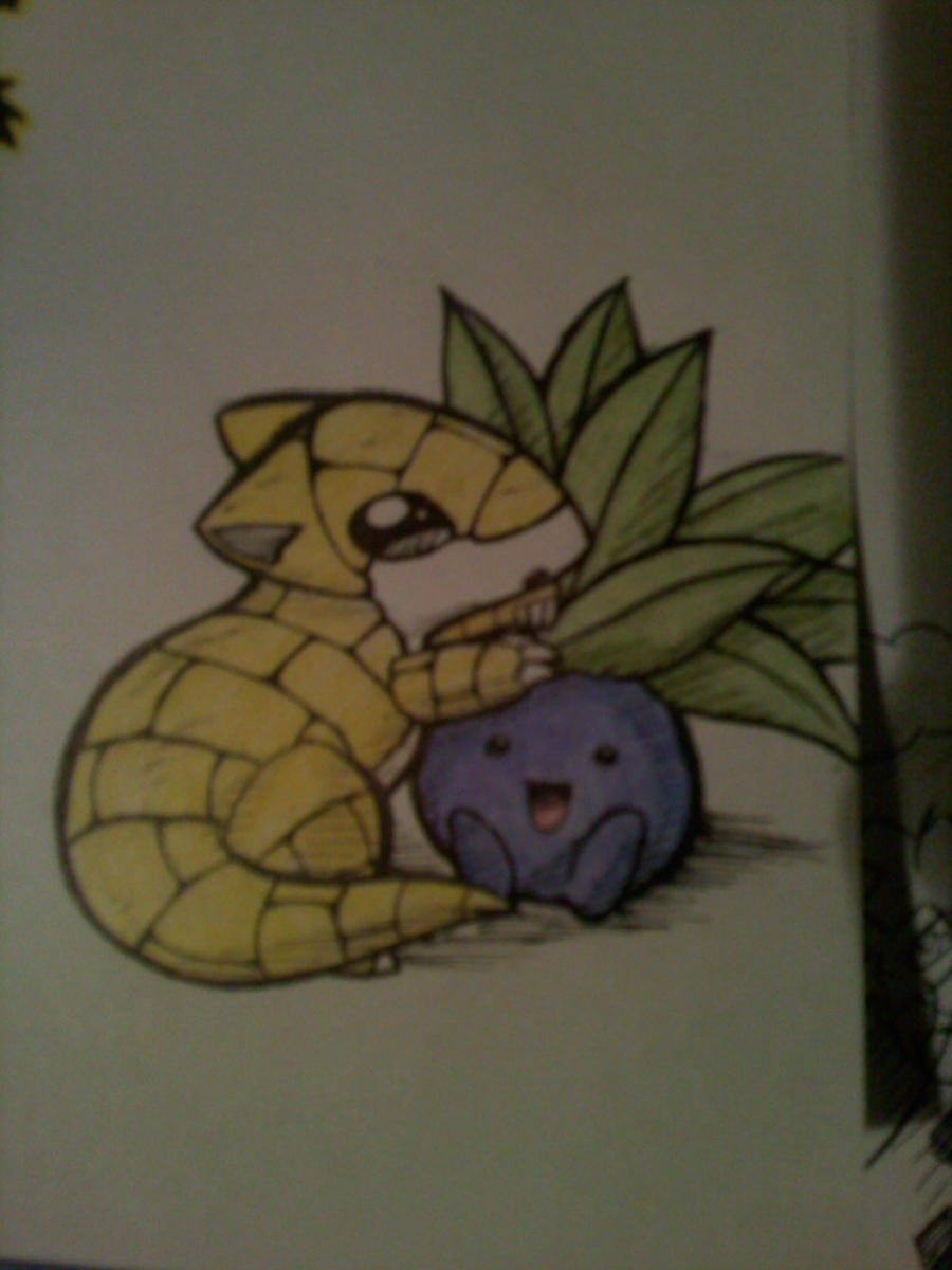 sandshrew and oddish by kitzune-griffith