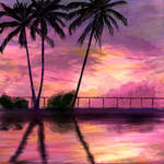 Pink Sunset Over the Coconut Trees