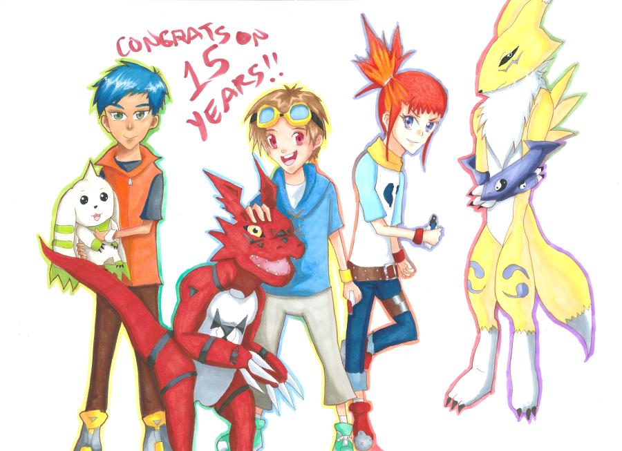 Digimon Tamers 15th anniversary by Whitewolfgirl