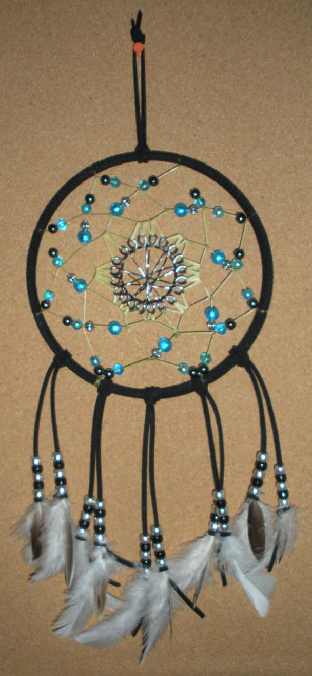 Dream Catchers With Beads Black Dreamcatcher with Blue Silver Beads and Blac by sushiasuka 8