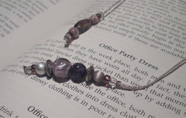 Purple and Silver Beads on Gray Jute Cord