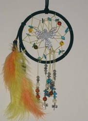 Black Dreamcatcher with a Bird Amber n Shell Beads