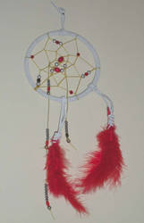 White Dreamcatcher with Red and Metal Beads