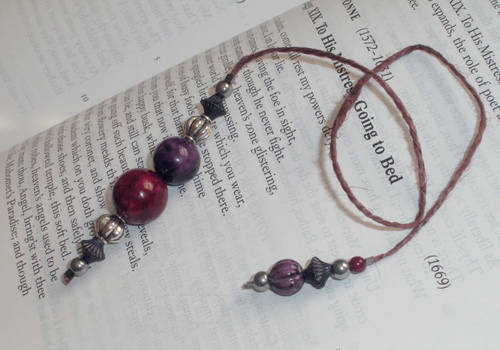 Red and Purple with Silver on Dark Brown Jute Cord