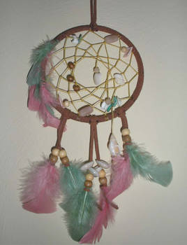 Brown Dreamcatcher with Stone Wood and Shell
