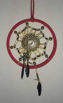 Red Dreamcatcher with Bronze Beads - Black Feather