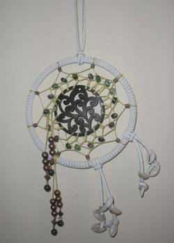 White Dreamcatcher with Malachite Beads and Shells