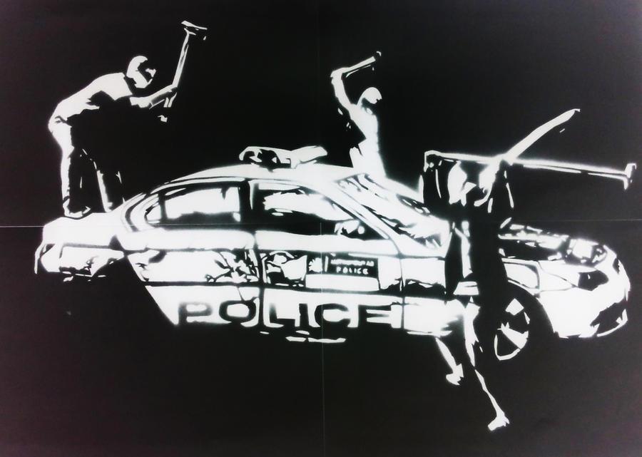 Up Police Logo Wallpaper 3 hooligans Smashing Up Police