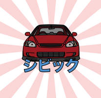 JDM Honda Civic Illustration by dannyboib