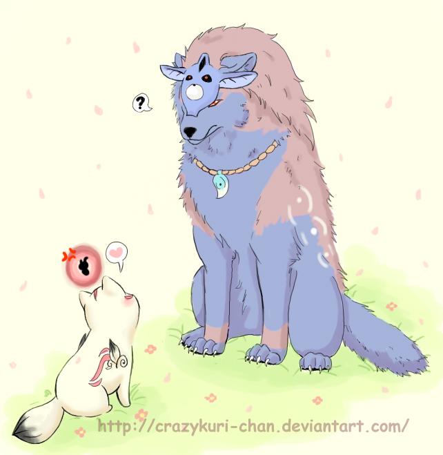 Chibiterasu meets Oki by CrazyKuri-chan on DeviantArt