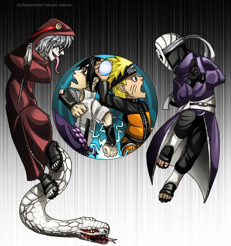 ENEMIES : Naruto, Sasuke, Kabuto, and Tobi woot!: by Yakushi--Kabuto