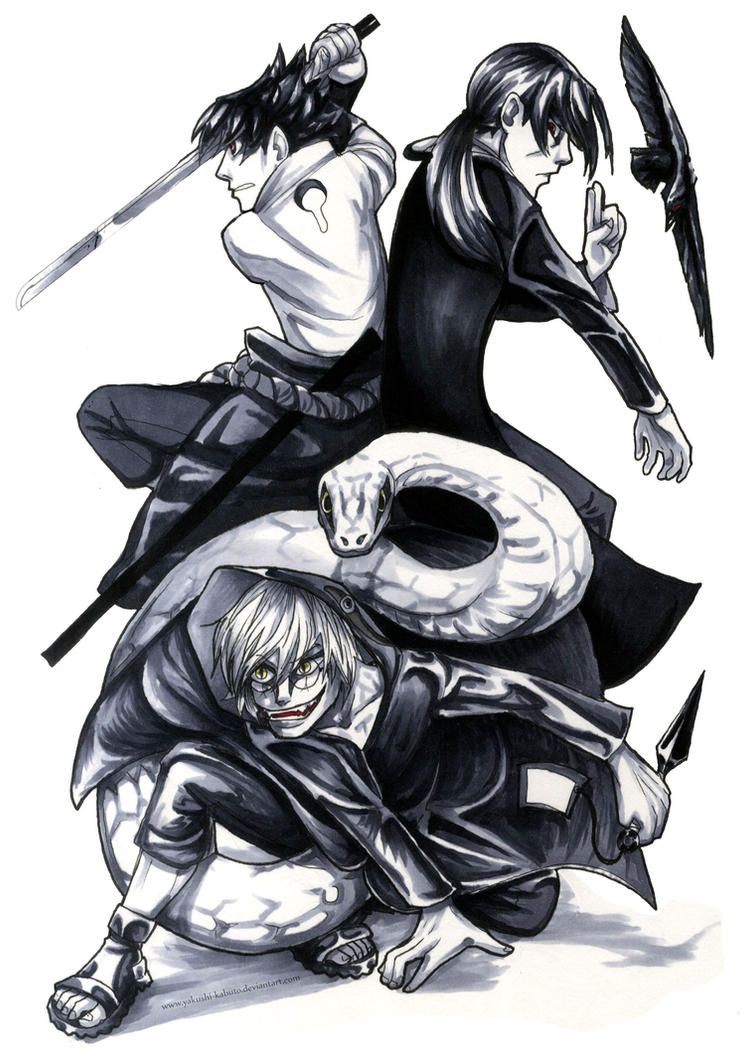 Kabuto, Sasuke, Itachi: Of Battle and War by Yakushi--Kabuto