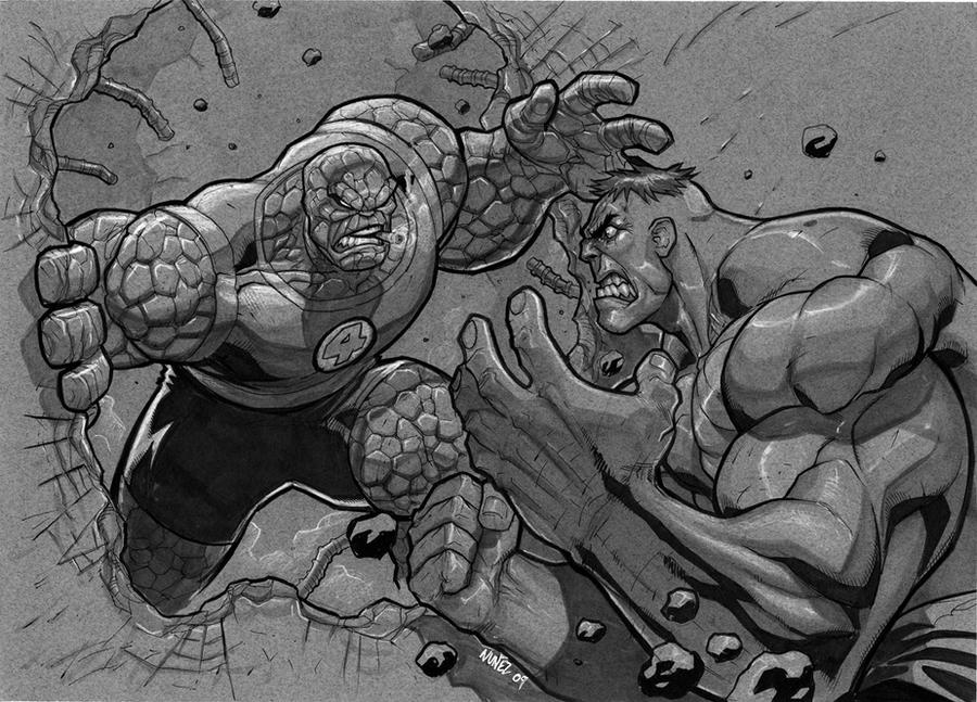 thing vs hulk by MiaCabrera