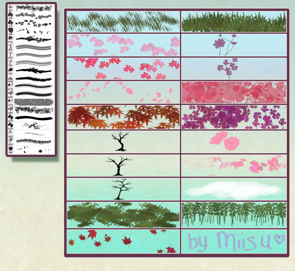 ( Hi-Res ) 19 Nature Brushes for Photoshop by Miisu