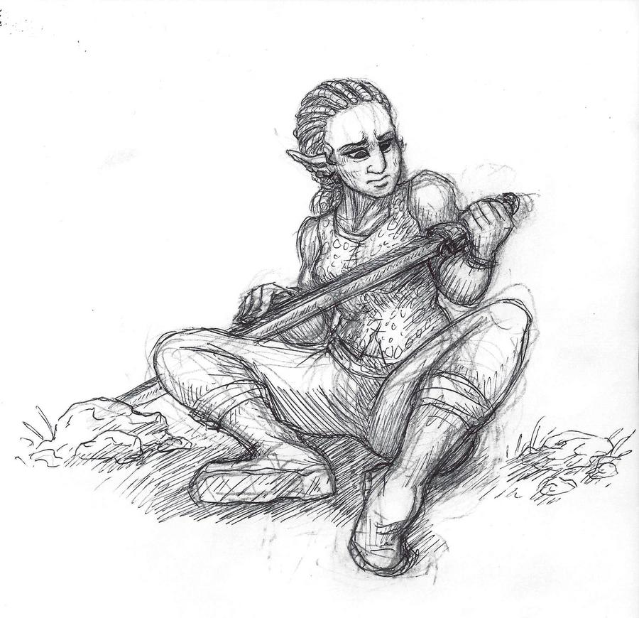 Inktober #6 - Sword by KelpGull