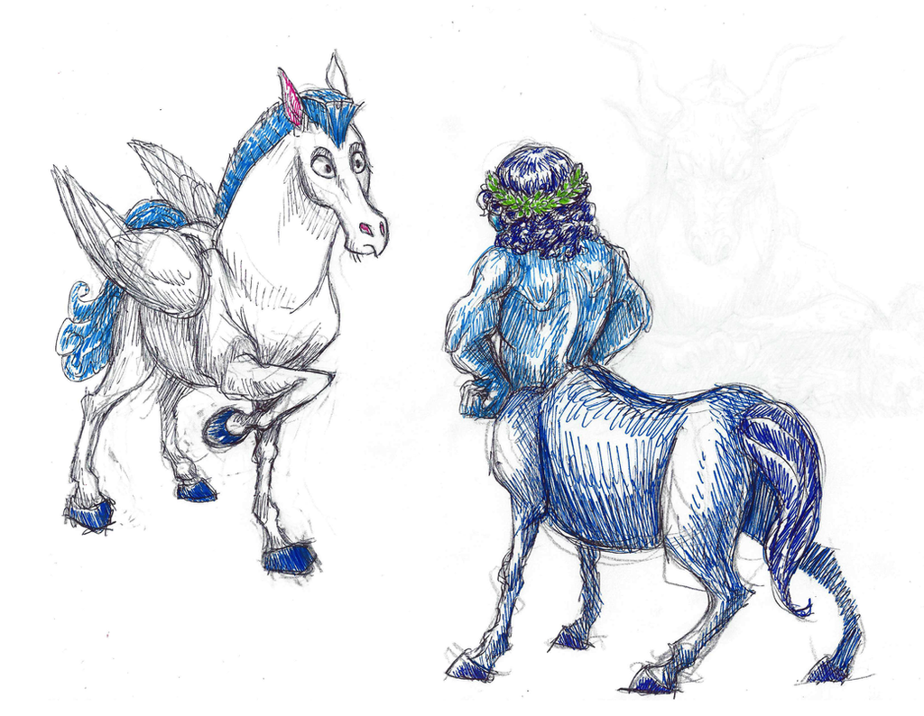 Disney Inktober #10 - Horses by KelpGull