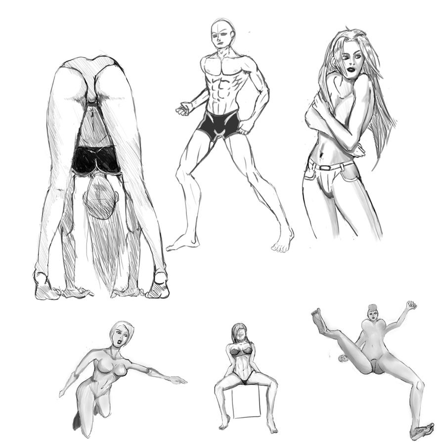 Anatomy study - Dynamic poses and perspective by Tahldon on DeviantArt