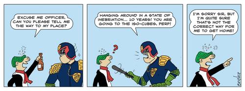 Judge Dredd vs. Andy Capp by marcobrunez