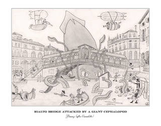 Rialto Bridge attacked by a giant cephalopod by marcobrunez