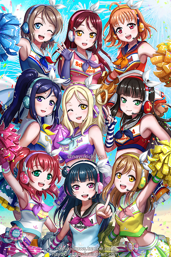 Wallpaper Love Live Tumblr : Aqours! Love Live! Sunshine!! - cheer Girls! by nayuki ...