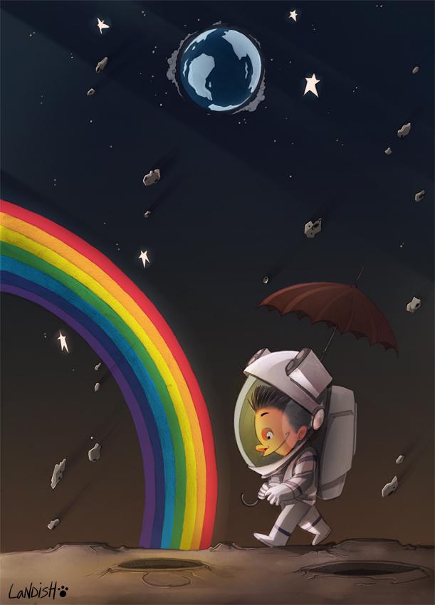 Moon rainbow by AlexLandish