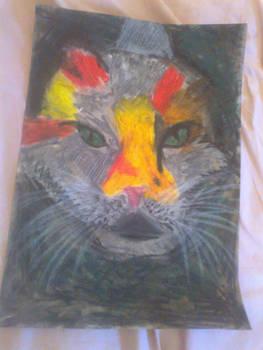 oil pastel cat