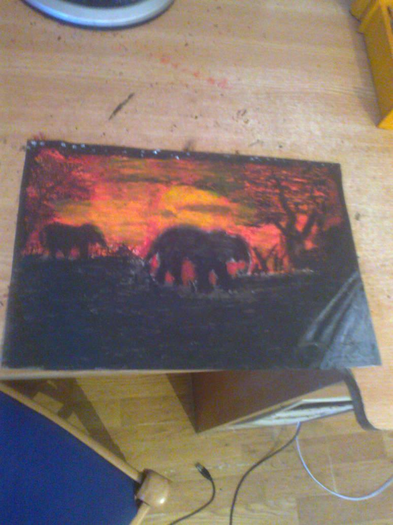 savana elephants oil pastel