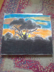 Oil pastel painting on canvas