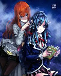 Makise and Yukino by EUDETENIS