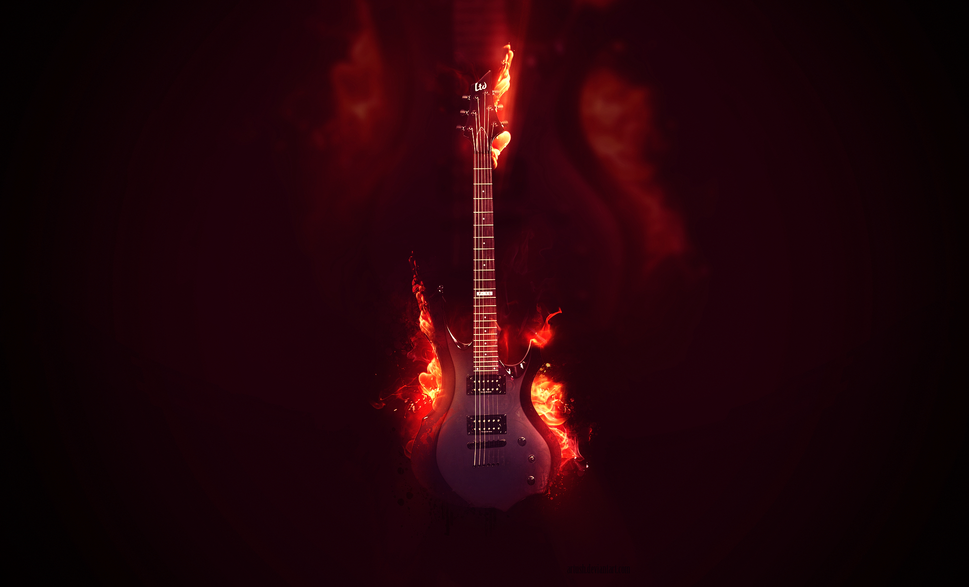 electric guitar art wallpaper fire - photo #22