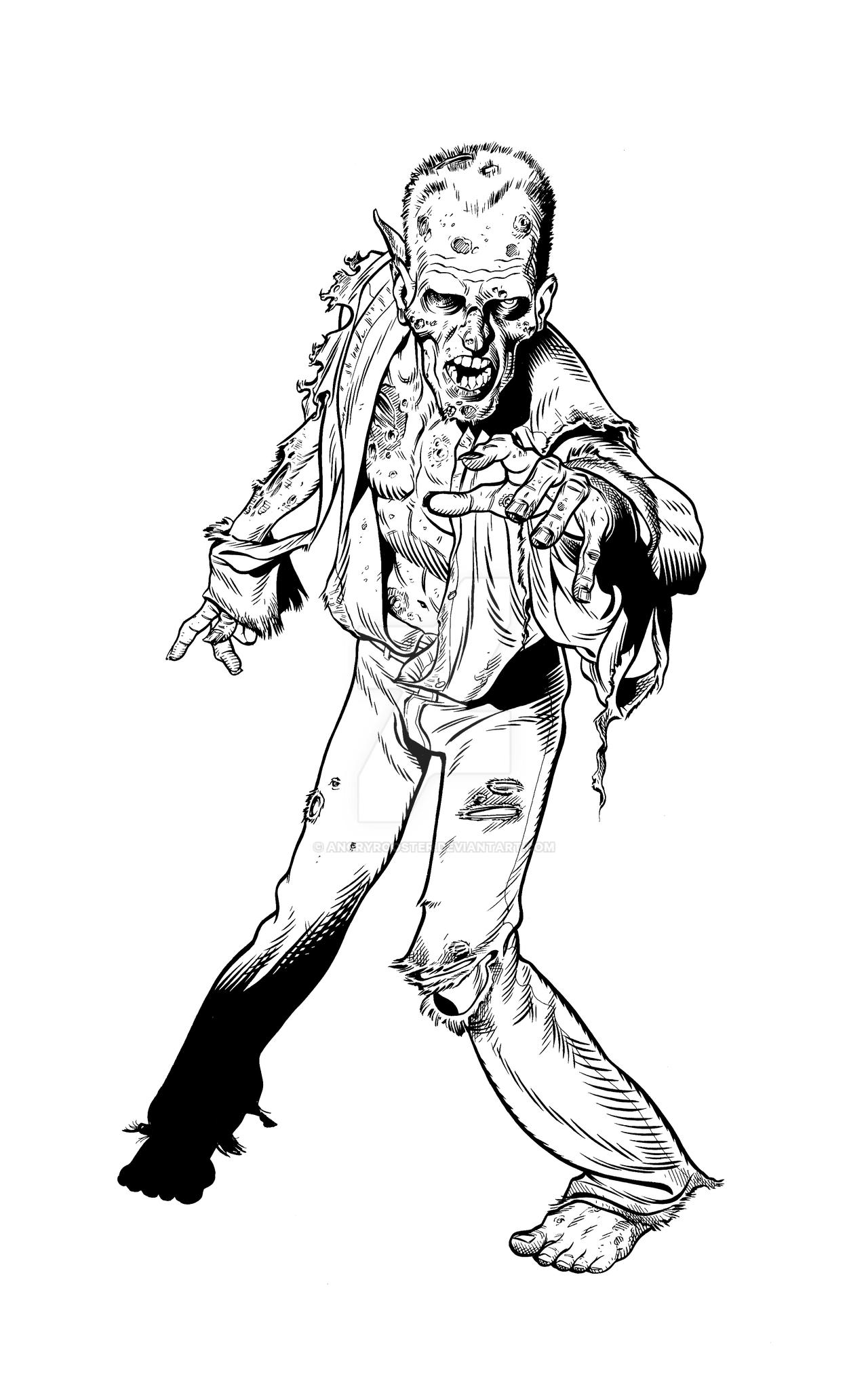 Line Drawing Of A Zombie : Zombie practice by angryrooster on deviantart