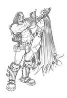 Lobo Choking Batman by angryrooster