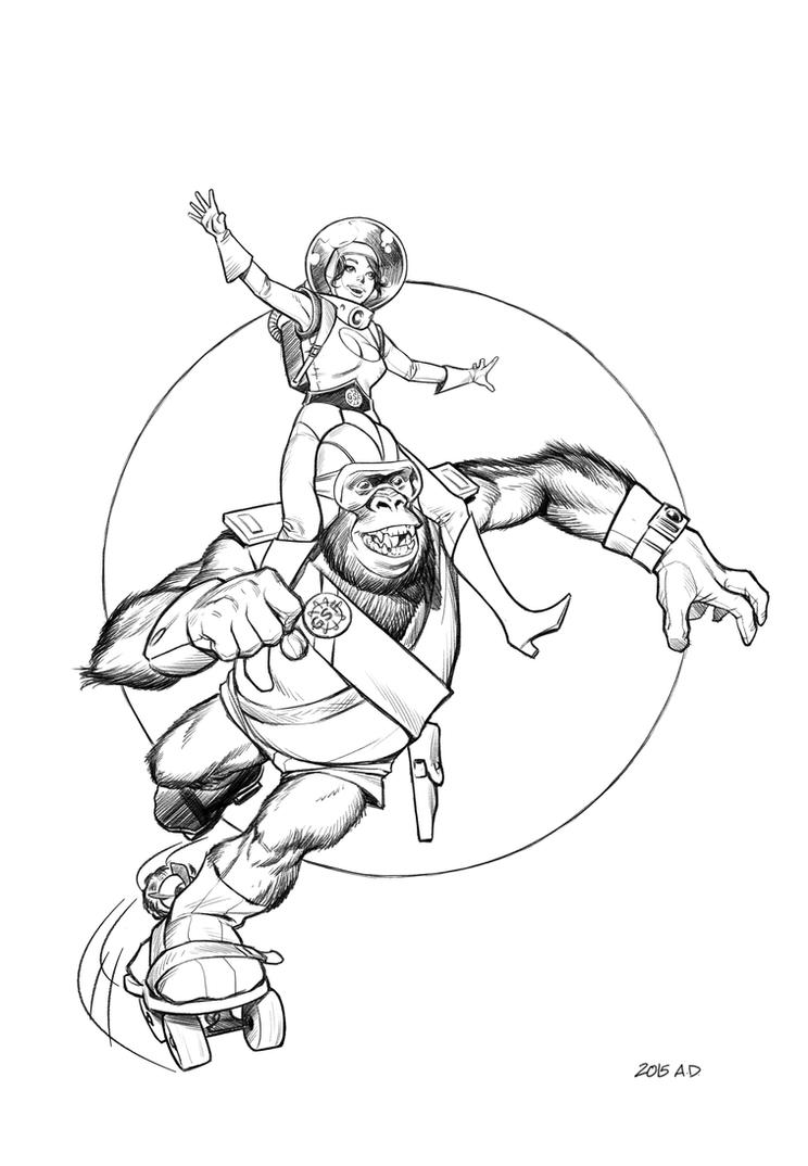 Rocket Skate Space Ape and Petula by angryrooster