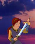 Kayley with Excalibur