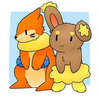 Buneary and Buizel by LexisSketches