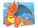 Charizard and Chikorita by LexisSketches