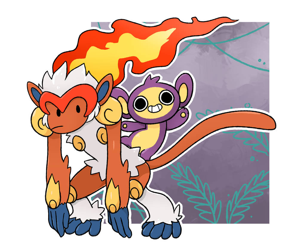 Infernape and Aipom by LexisSketches