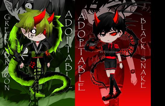 [OPEN]adoptable Green Dragon Or Black Snake