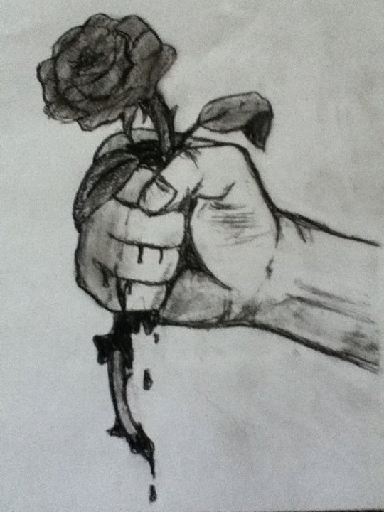 Hand Holding Rose Drawing Hand Holding a Rose by