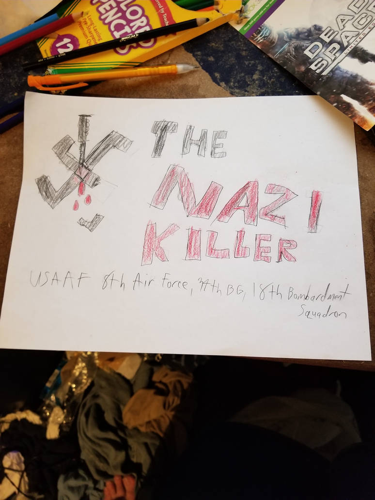 USAAF The Nazi Killer (Fictional B-17 Noseart) by Dumbrarere