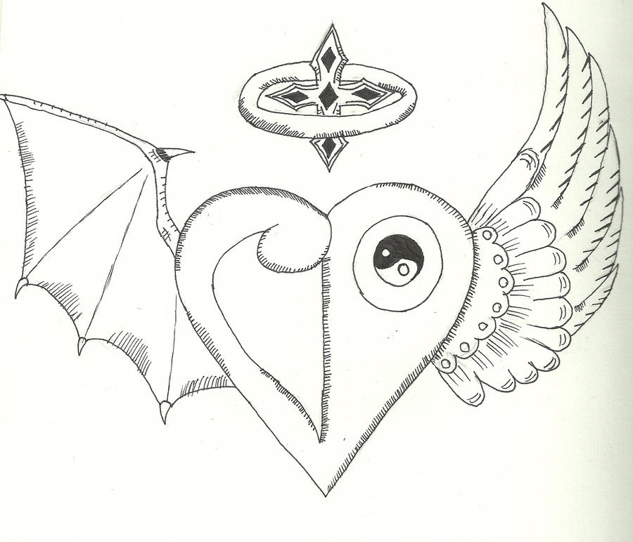 Angel/Demon Heart Crest tattoo by SaintNick14 on DeviantArt.