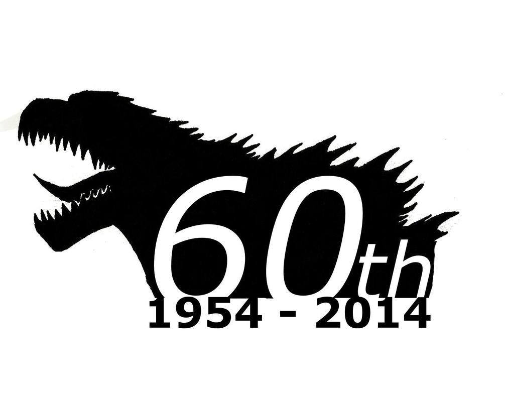 Godzilla 60th birthday logo by saintnick14 on deviantart