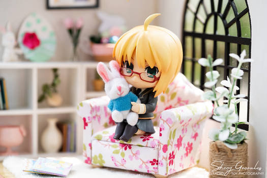 Little Saber and a Rabbit Doll