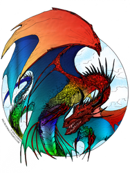 Rainbow dragon by MoezV