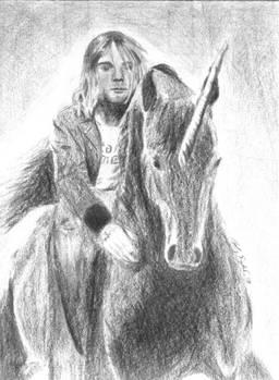 Kurt Cobain on a Unicorn