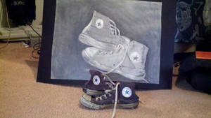 My first pair of Chucks drawing and shoes