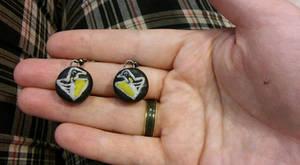 Pittsburgh Penguins hockey puck earrings