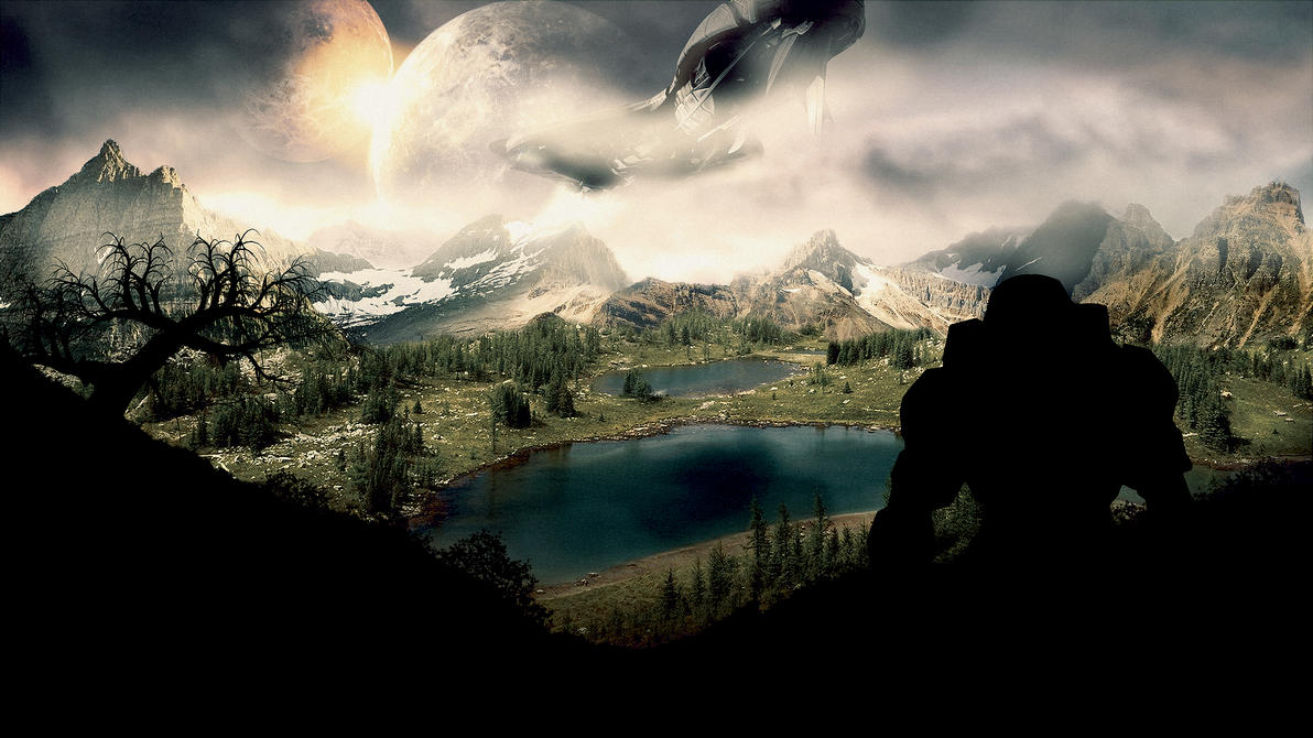 Halo 4 wallpaper - The Chief Lands by JSWoodhams
