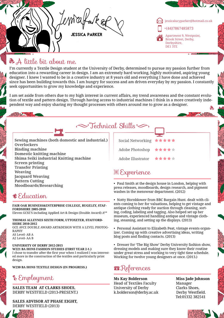 Creative Resume/CV - Jessica Parker - Fashion by JSWoodhams on ...