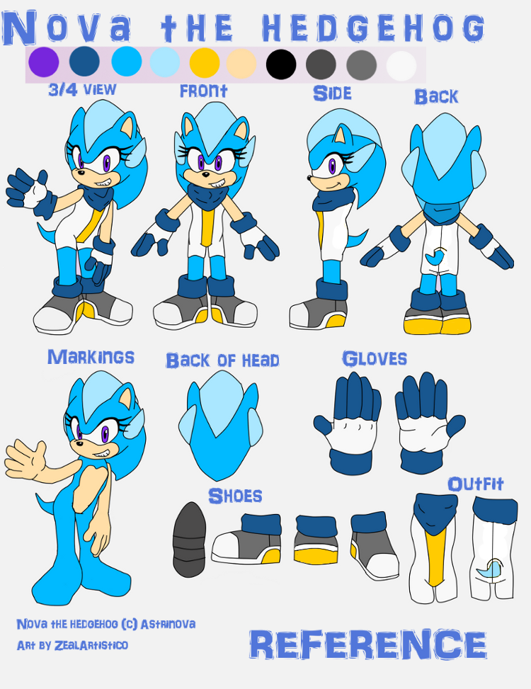 Gift: Nova the  hedgehog REFERENCE by Zixlesii